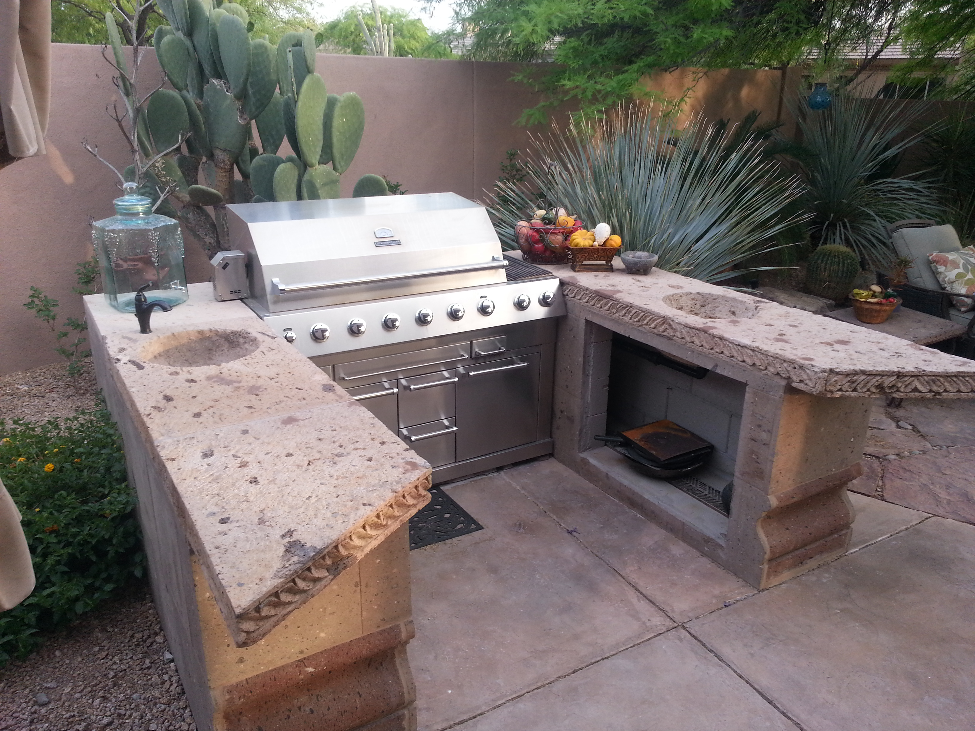 Remodeled patio with gas grill